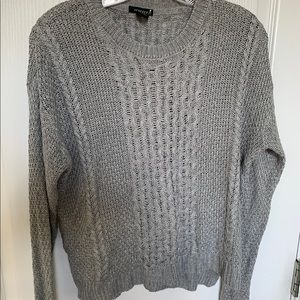 NWOT lightweight grey cable sweater